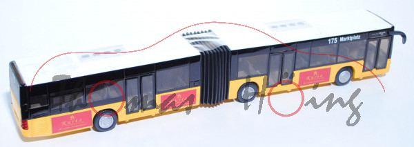 MAN Lion\'s City G Gelenkbus (Typ A23, Modell NG 263), dahliengelb/weiß, Kurtz Spielwaren seit 1833,