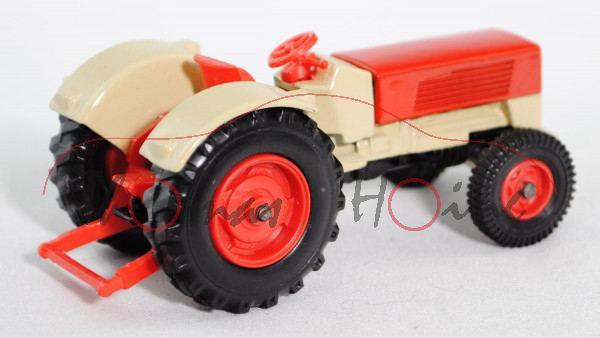 00004 Hanomag Robust 900 (Modell 1967-1969) Traktor (Zugschlepper), hell-grünbeige/verkehrsrot, Sitz
