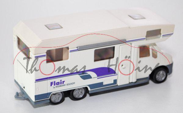 Fiat Ducato Wohnmobil, reinweiß, Flair / by NIESMANN + BISCHOFF (Druck 1,5 mm hoch), altes Design de