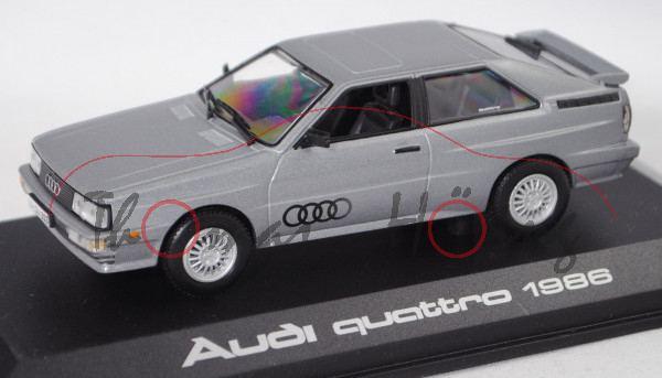 Audi Quattro (Typ 85Q, Modell 1985-1987, Baujahr 1986), silbergraumetalic, Norev, 1:43, PC-Box
