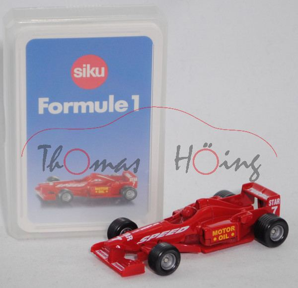 00100 F Formule 1 Quartett mit Formel 1 Rennwagen, karminrot, ca. 1:55, SIKU SUPER / TOP ASS, P28b