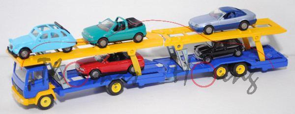 00002 Mercedes-Benz 1520 (Mod. 1984-1989) Autotransporter mit 5 PKW's, blau/gelb, LKW12, SIKU SUPER