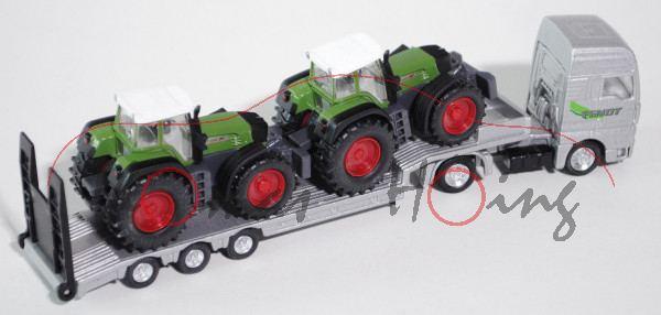 MAN TGA Tieflader mit Fendt (926 Vario und 924 Vario) Traktoren, silber und grün/grau, 1:87, L17mK (