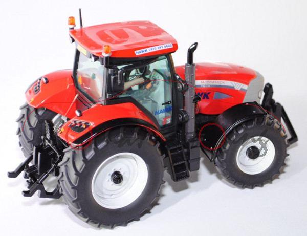 00601 McCormick Traktor TTX 230, rot/silbergrau, mit Fahrer im blauem Overal, HAWK 0870 393 0000, Nu