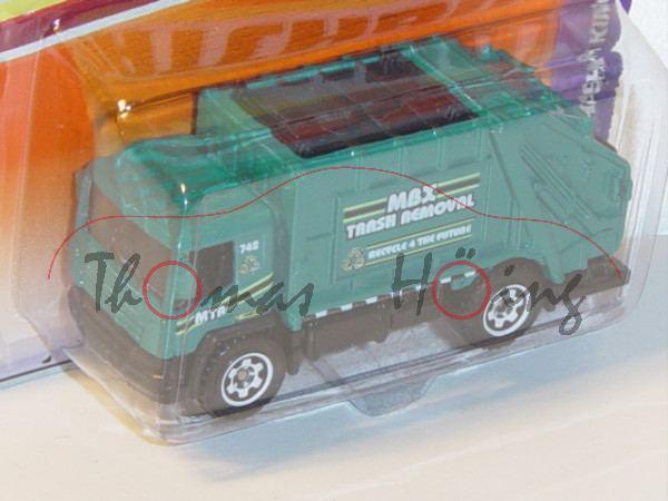 Garbago Truck Trash King Müllwagen, wasserblau/schwarz, MXB / TRASH REMOVAL, Matchbox, Blister