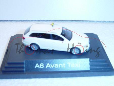 Audi A6 Avant Taxi, Mj 2004, hellelfenbein, Sockeldruck A6 Avant Taxi, Busch, 1:87, Werbeschachtel