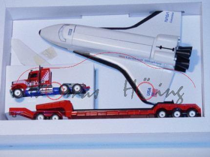 Peterbilt Tieflader mit Space Shuttle, verkehrsrot/hell-ultramarinblau, LKW16, L11n