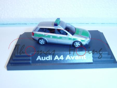 Audi A4 Avant, silber/grün, POLIZEI, Busch, 1:87, PC-Box