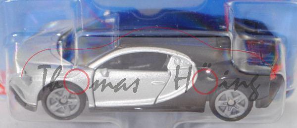 00000 Bugatti Chiron (Mod. 2016-), silbergraumetallic/schwarz, B47 silbergrau, SIKU, ca. 1:57, P29e