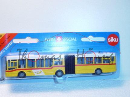 03900 MAN Gelenkbus, gelb/weiß, PostAuto / DIE POST, Werbeblister, CH