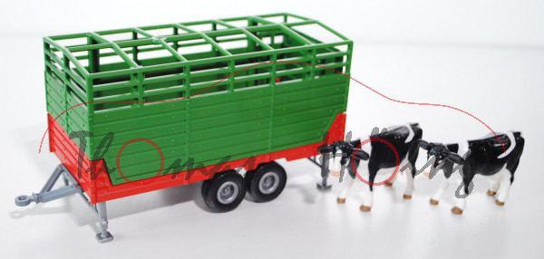00000 Viehanhänger, verkehrsrot/smaragdgrün, Kühe mit Blickrichtung nach links, L17P