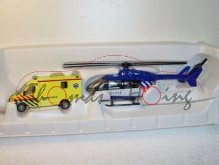00300 NL-Rettungsdienst-Set bestehend aus Mercedes Sprinter und Hubschrauber, leuchtgelb und saphirb
