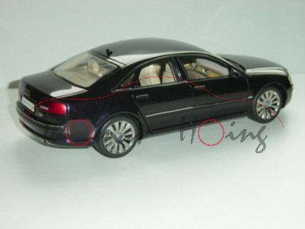 Audi A8 6.0 W12 quattro (D3, Typ 4E Facelift 1), Modell 2005-2007, schwarz, Kyosho, 1:18, mb