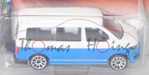 VW T6 Multivan (Typ 7H, 2. Facelift, Mod. 2015-) (Nr. 203G), reinweiß/blau, majorette, 1:61, Blister