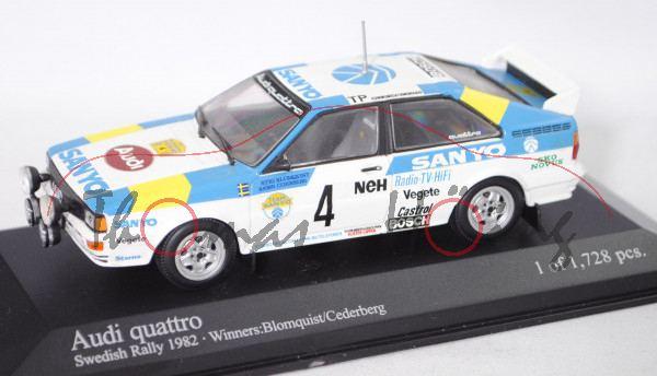 Audi quattro Gruppe 4, Schweden Rallye 1982, Blomqvist / Cederberg, Nr. 4, Minichamps, 1:43, PC-Box