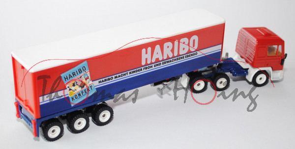 MAN F90 Koffer-Sattelzug, verkehrsrot/cremeweiß/saphirblau, HABIBO / HARIBO MACHT KINDER FROH UND ER