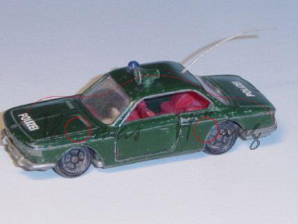 BMW 2000 CS Polizei-Lautsprecherwagen, Modell 1965-1970, tannengrün, IE rot, Lenkrad weiß, POLIZEI,