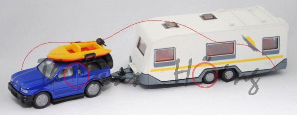 00013 Opel Frontera (neu) mit Boot und Wohnwagen, blau/weiß, gelber Streifen auf Wohnwagen, L15