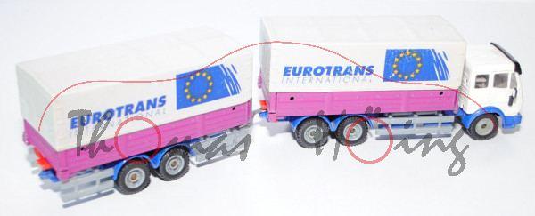 00000 Mercedes SK mit Tandem-Anhänger, reinweiß/hell-ultramarinblau/verkehrspurpur, EUROTRANS / INTE