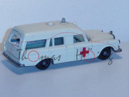 Mercedes Benz Binz Ambulance, weiß, rotes Kreut auf den Seiten, Heckklappe zu öffnen, mit Trage, Mat