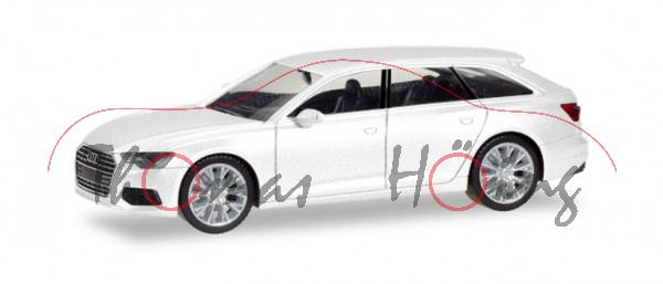 Audi A6 Avant (C8, Typ 4K, Modell 2018-), ibisweiß, Herpa, 1:87, mb (EAN 4013150420303)