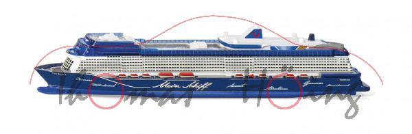00000 Kreuzfahrtschiff Mein Schiff 1 (Modell 2018), weiß/blau, SIKU 1:1400, L17mpK (ab 07/21 da)