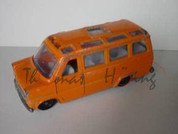 Ford Transit (2. Generation, Typ UK Mark 1) Schulbus, Modell 1971-1978, orange, IE graut, Lenkrad sc