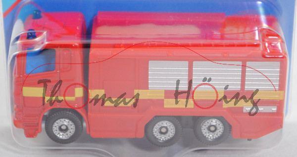 00600 GB Scania R380 (CR16, Modell 2004-2009) Fire Engine, rot, gelbe Streifen auf den Seiten, P29e