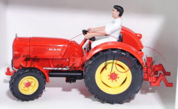 00401 MAN 4R3 Allradschlepper, Modell 1961-1963, verkehrsrot, Felgen zinkgelb, mit Fahrer in weißem