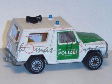 Mercedes 280 GE Polizei-Geländewagen, weiß/minzgrün, POLIZEI ausgespart, IE gelb, B5, Modell bespiel