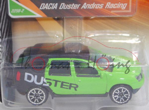 Dacia Duster (Modell 2013-2018), hell-gelbgrün/mattschwarz, Trophée Andros, majorette, 1:64, Blister