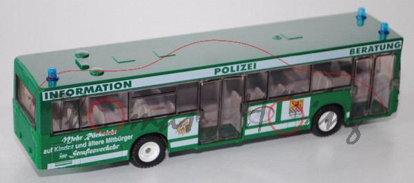 Mercedes O405 N Polizei-Info-Bus, minzgrün, INFORMATION POLIZEI BERATUNG / Mehr Rücksicht / auf Kind