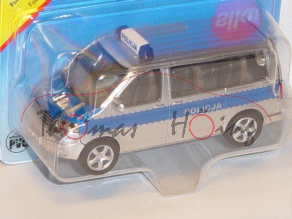 06000 PL VW T5 Polizei-Mannschaftswagen, Modell 2003-2009, chromsilber/dunkelblau, POLICJA, B21 silb