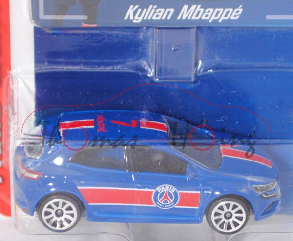 Renault Mégane R.S. (Modell 2018), enzianblau, 7 / MBAPPÉ, mit Sammelkarte, majorette, 1:63, Blister