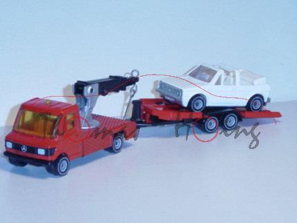 Mercedes 208 (Baureihe TN, Typ T 1) Abschleppwagen mit Anhänger und PKW, Modell 1977-1982, verkehrsr