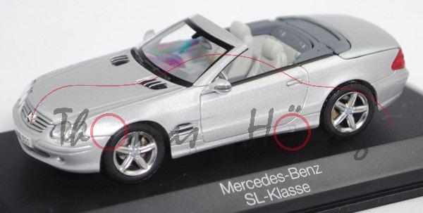 Mercedes-Benz 500 SL (R 230, Modell 2001-2006), brillantsilber metallic, Norev, 1:43, Werbeschachtel