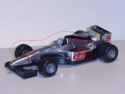 00002 Formel I Rennwagen, weißaluminiummetallic/schwarz, innen schwarz, Lenkrad weißaluminiummetalli