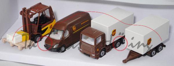 00000 UPS Logistik Set: Linde Stapler+MB Sprinter Postwagen+Scania Koffer-LKW mit Anhänger, L17mpP