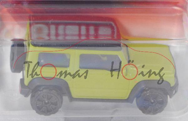 Suzuki Jimny (2. Gen., Typ GJ, Modell 2018-), hell-farngrün, Dach mattschwarz, majorette, 1:53, mb