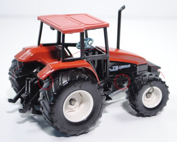 00001 Traktor New Holland L 75 FIATAGRI, korallenrot, mit überbreiten Reifen, L15