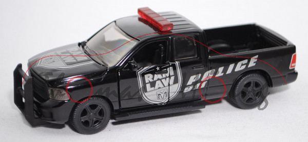 00000 (Dodge) RAM 1500 (Mod. 13-18) US Polizei, schwarz, POLICE, SIKU SUPER, ca. 1:50, L17mpK