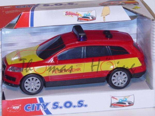 Audi Q7, Mj. 05, rot, FEUERWEHR, mit Friktionsmotor, mit Licht und Sound, DICKIE, 1:32, mb