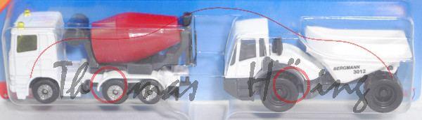 00000 Baustellen-Set: Scania R380 Betonmischer + Bergmann Dumper 3012 HK, reinweiß, P29e