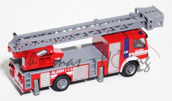 00800 Mercedes Atego Feuerwehr Drehleiter, karminrot/reinweiß, ALARM / 1-1-2, 1:87, L17mK, DK