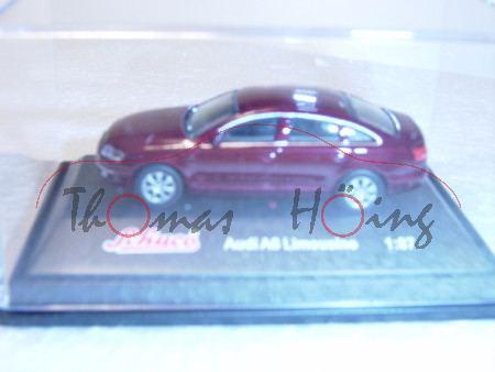 Audi A6, dunkelrotmetallic, Mj 2004, Schuco, 1:87, PC-Box