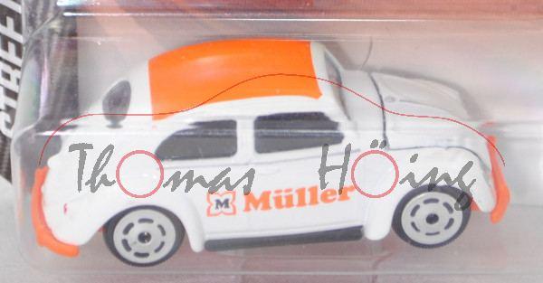 VW Beetle / Käfer Standardlimousine (Mod. 1953-1957), weiß/orange, Müller, majorette, 1:64, Blister