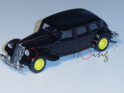 Citroen Traction 15-Six, schwarz, Felgen gelb, 1:58, Norev RETRO, mb