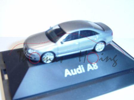 Audi A8, Mj 05, lichtsilber, Herpa, 1:87, Werbeschachtel