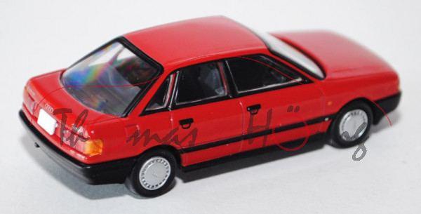 Audi 80 2.0E (B3, Typ 89), Modell 1988-1991, verkehrsrot, TOMYTEC, 1:64, mb