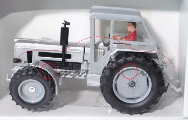 00001 Schlüter Super 1250 VL, silbergraumetallic, mit Fahrer, Fehldruck: SCHLÜTER steht hinten, Felg